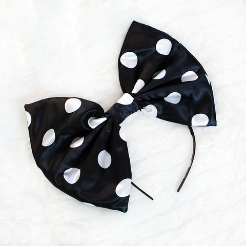 HUGE Black and White Polka Dot Hair Bow