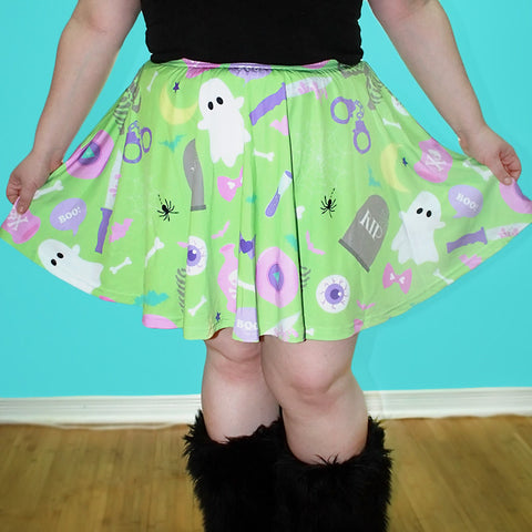Green Creepy Party Skater Skirt