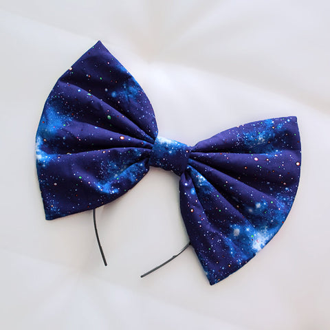HUGE Blue Galaxy Hair Bow