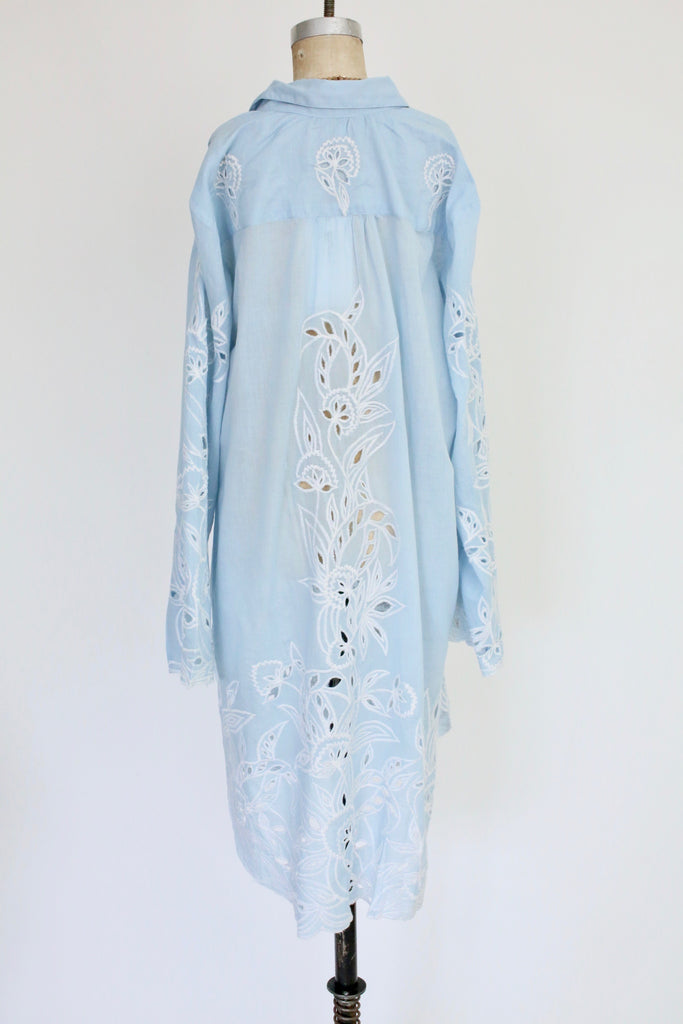Juliet Dunn Cut out Embroidery Beach Shirt