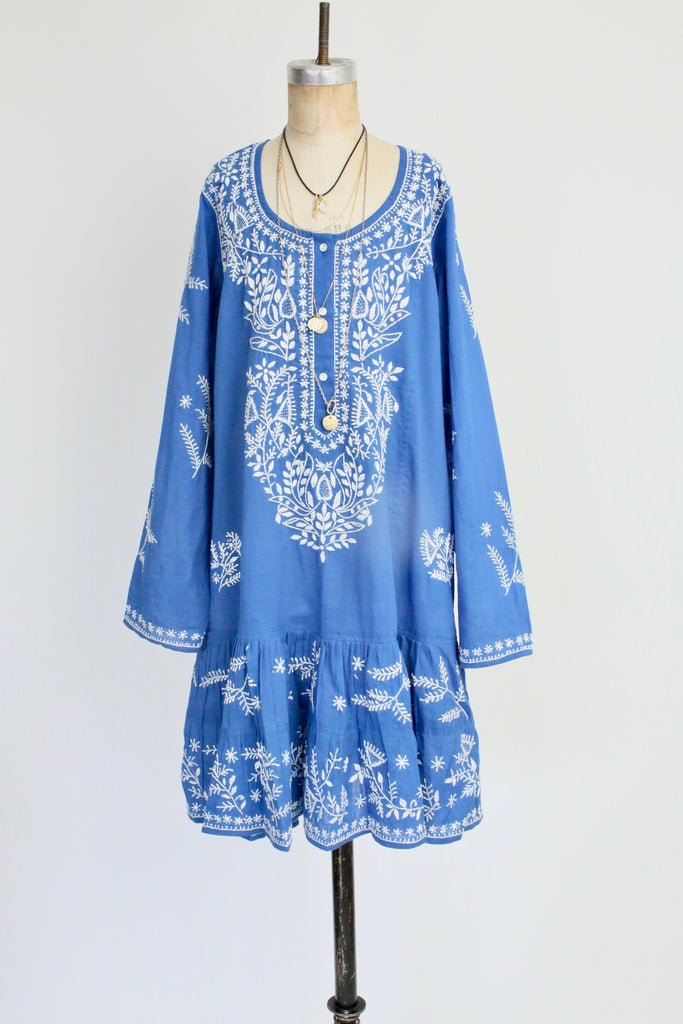 Classic Long Sleeve Beach Dress with Embroidery in Marine