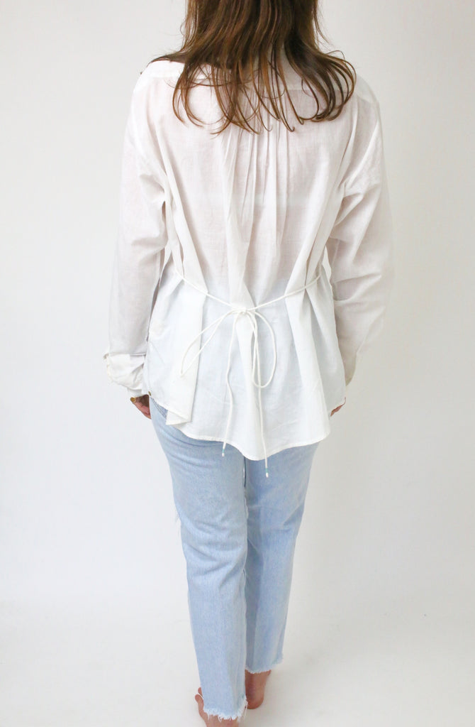 Cotton Khadi Pintuck Blouse Off White