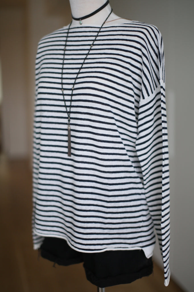 Knitted Stripe Crew Linen