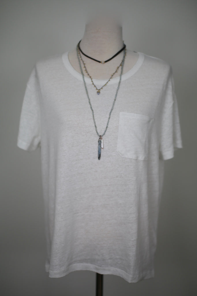 Majestic White Linen Drop Shoulder Picket T