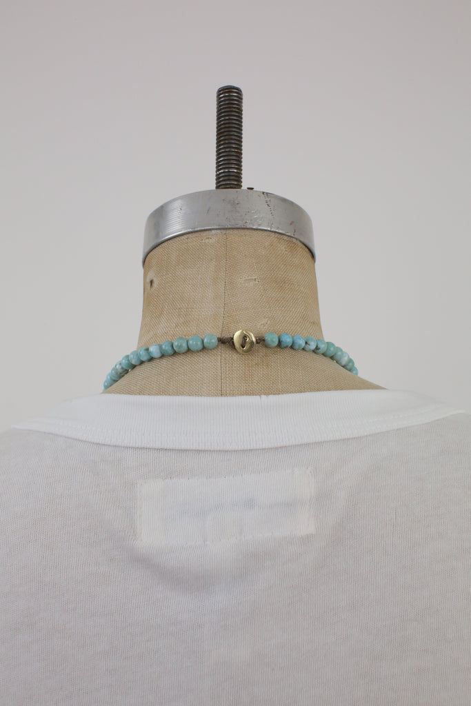 Larimar Beaded Necklace with 18k Diamond Encrested Gold Pendant