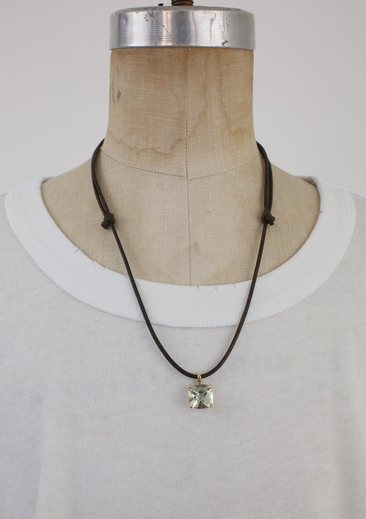 Leather necklace with Tourmaline Pendant