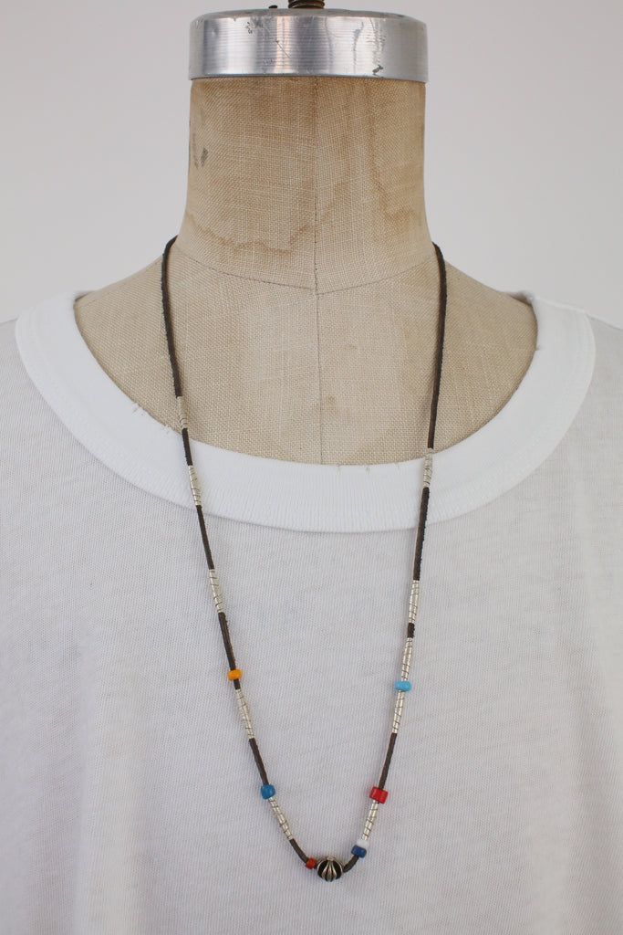 Leather & Silver Necklace with Vintage Beads