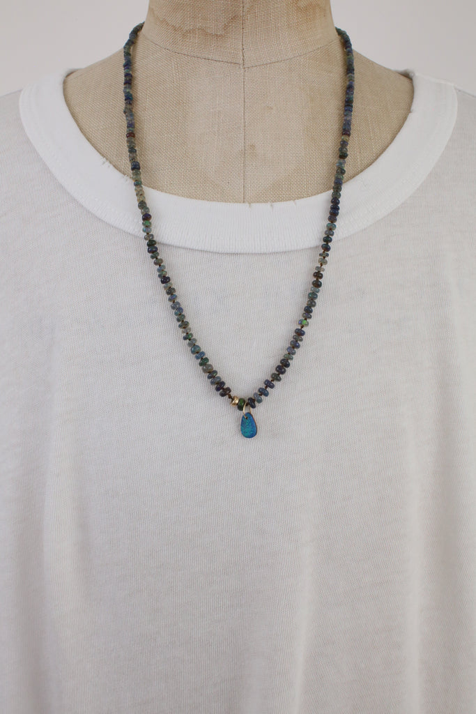 Black Opal Necklace with Drop Charm