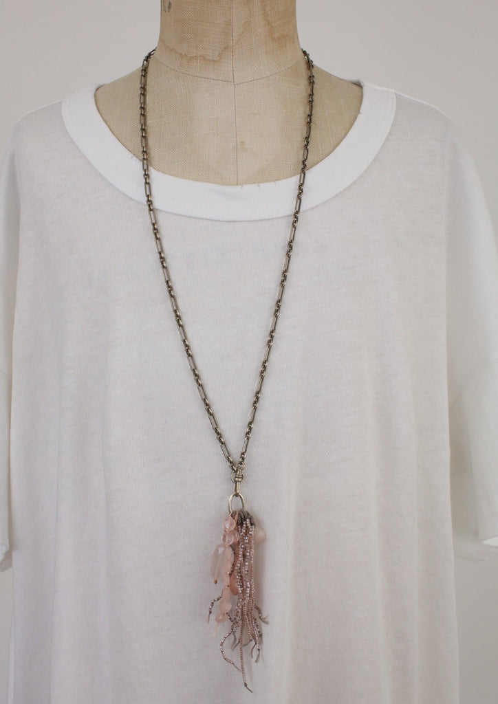 Sterling Silver Chain with Rose Quartz, Pink Opal and Delica Beads