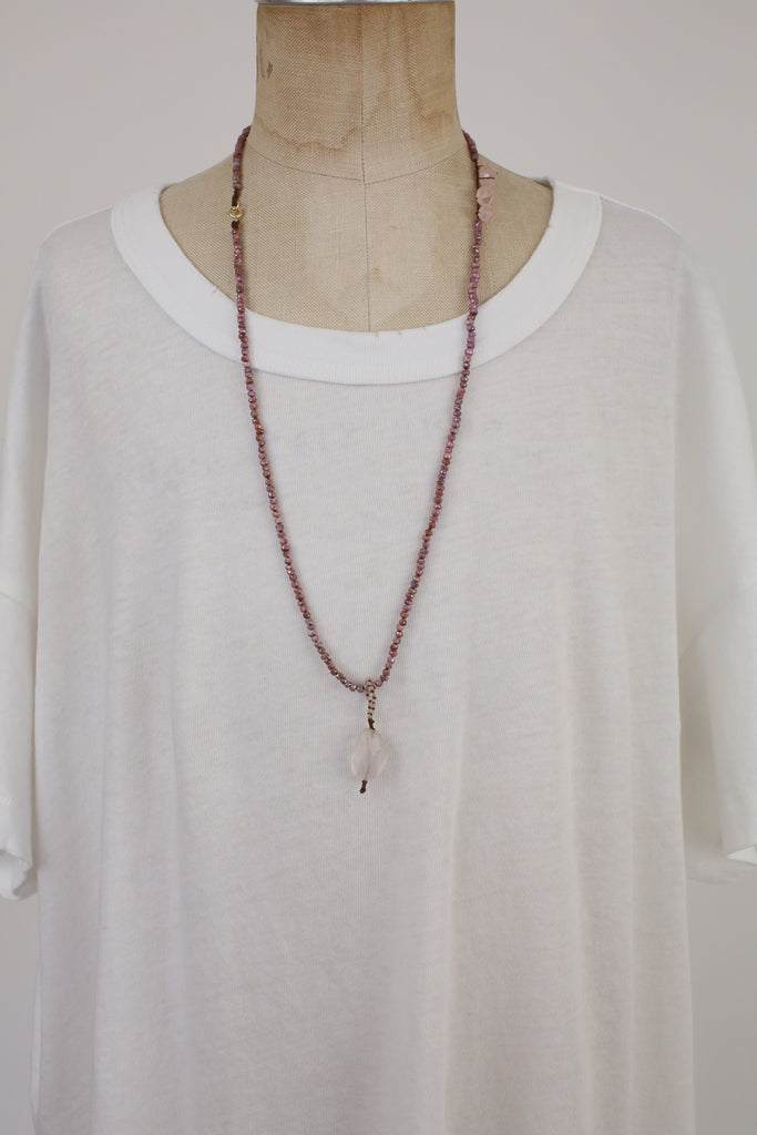 Pink Sunstone Chain with Rose Quartz Drop Charm