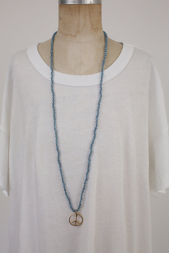 Sky Blue Necklace with 10K Yellow Peace Charm