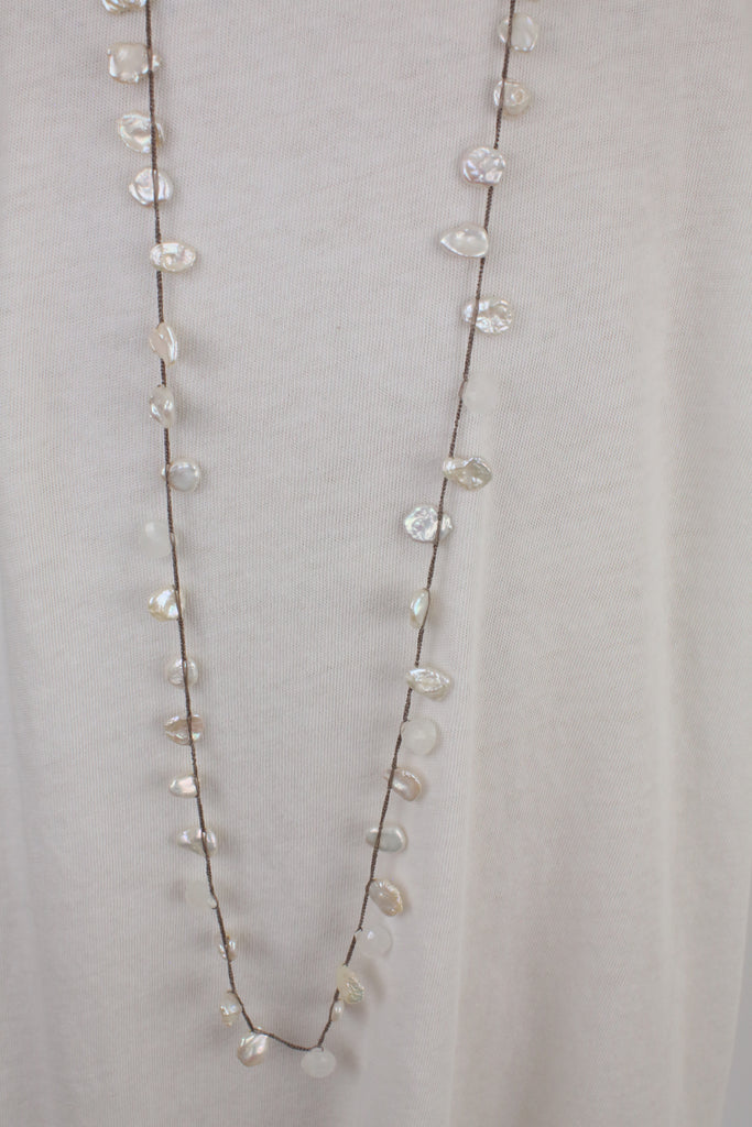 Mother of Pearl Crochet 18k Gold Necklace