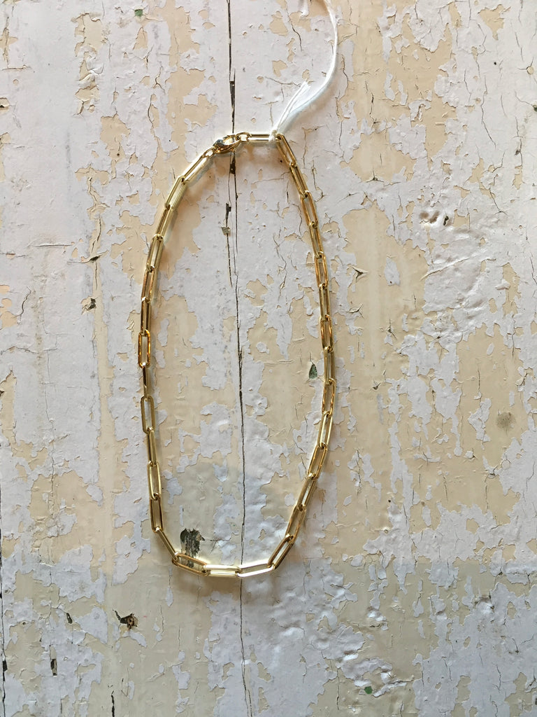 "14k yellow gold 20"" paperclip chain"