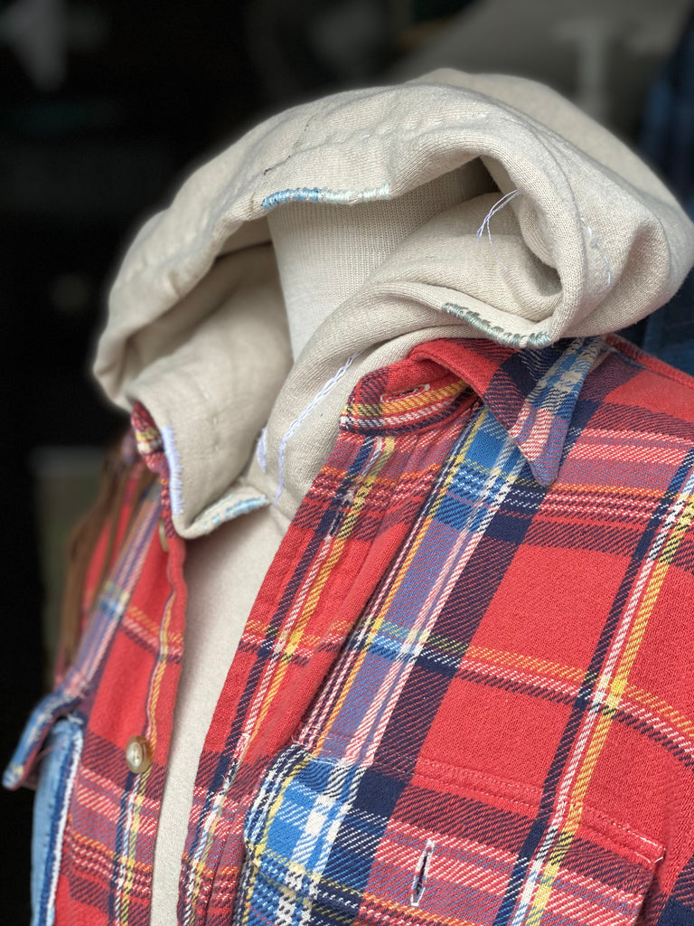 red and blue Boro flannel shirt