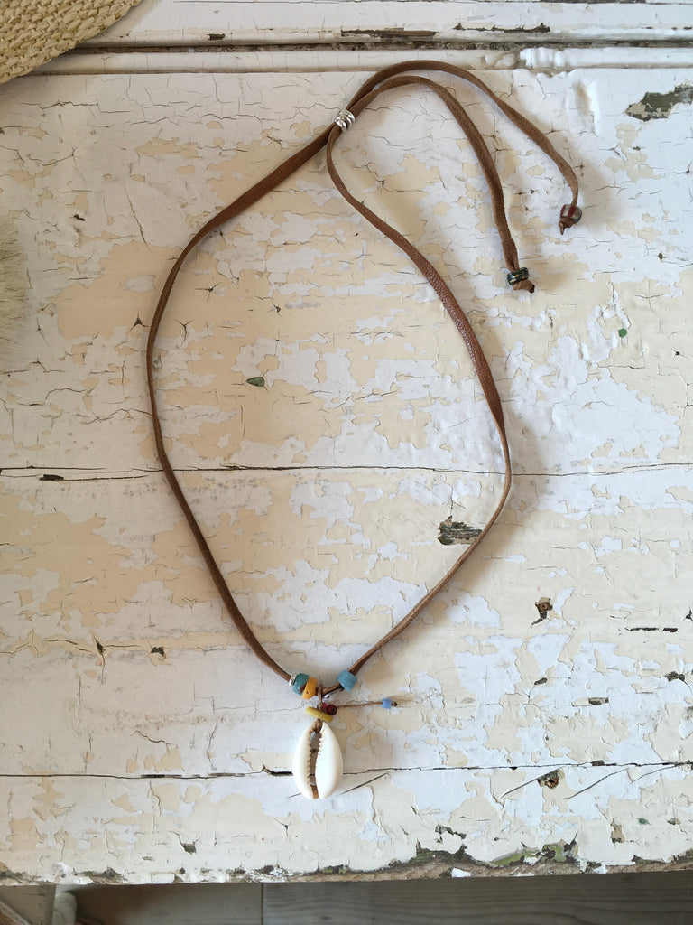 puka shell leather bead necklace