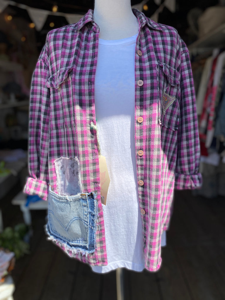Pink / Black Plaid Flannel
