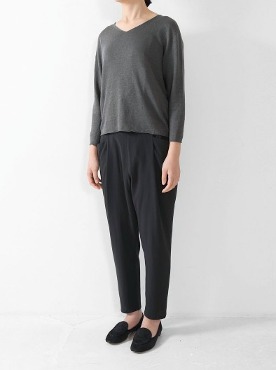 Cotton Double Easy Tuck Pant in Sumi 98