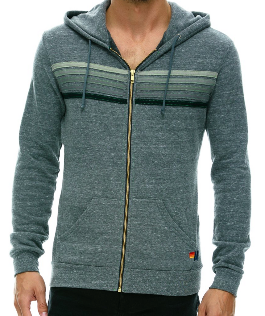 5 STRIPE ZIP HOODIE grey on grey