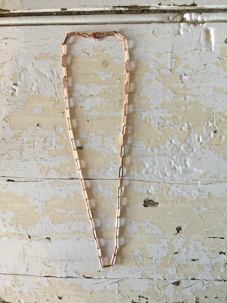 "14k rose gold 20"" paperclip chain"