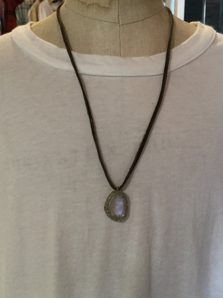Moonstone on leather necklace