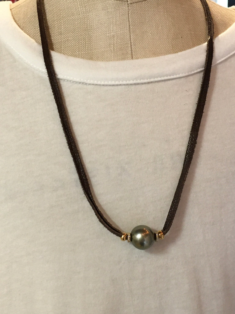 Tahitian Pearl Adjustable Leather Necklace