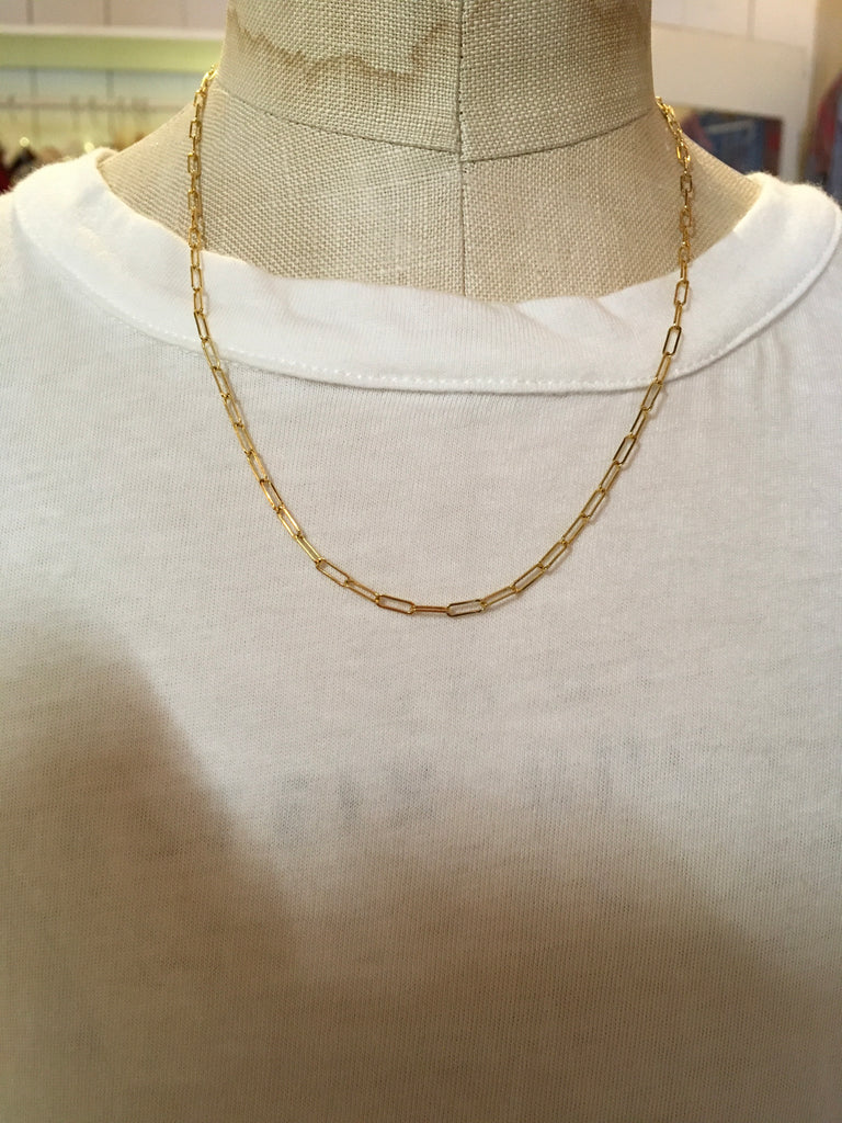"18k 16"" gold paper clip chain necklace"
