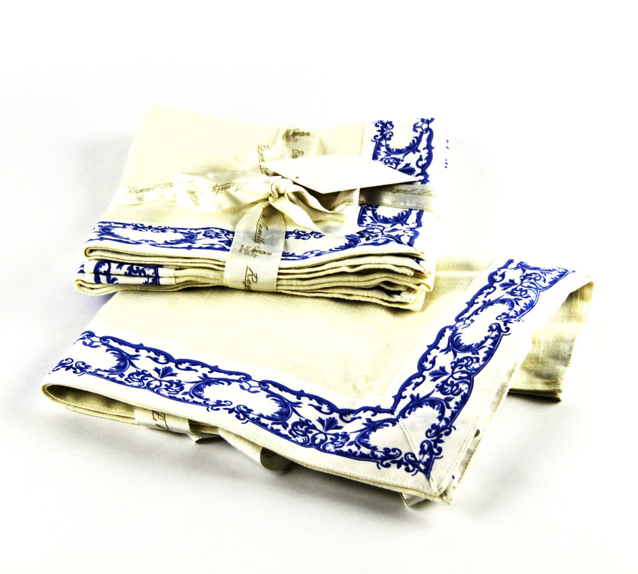 Royal Family 4 piece Napkin Set.  Provenza Blu. 100% cotton linen. Size 40cm x 40 cm.
