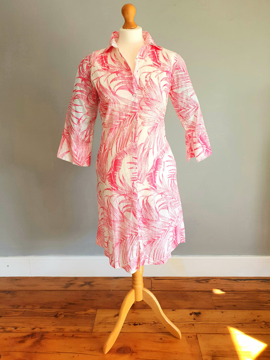 POSITANO  Red and White Printed Dress 100% cotton.