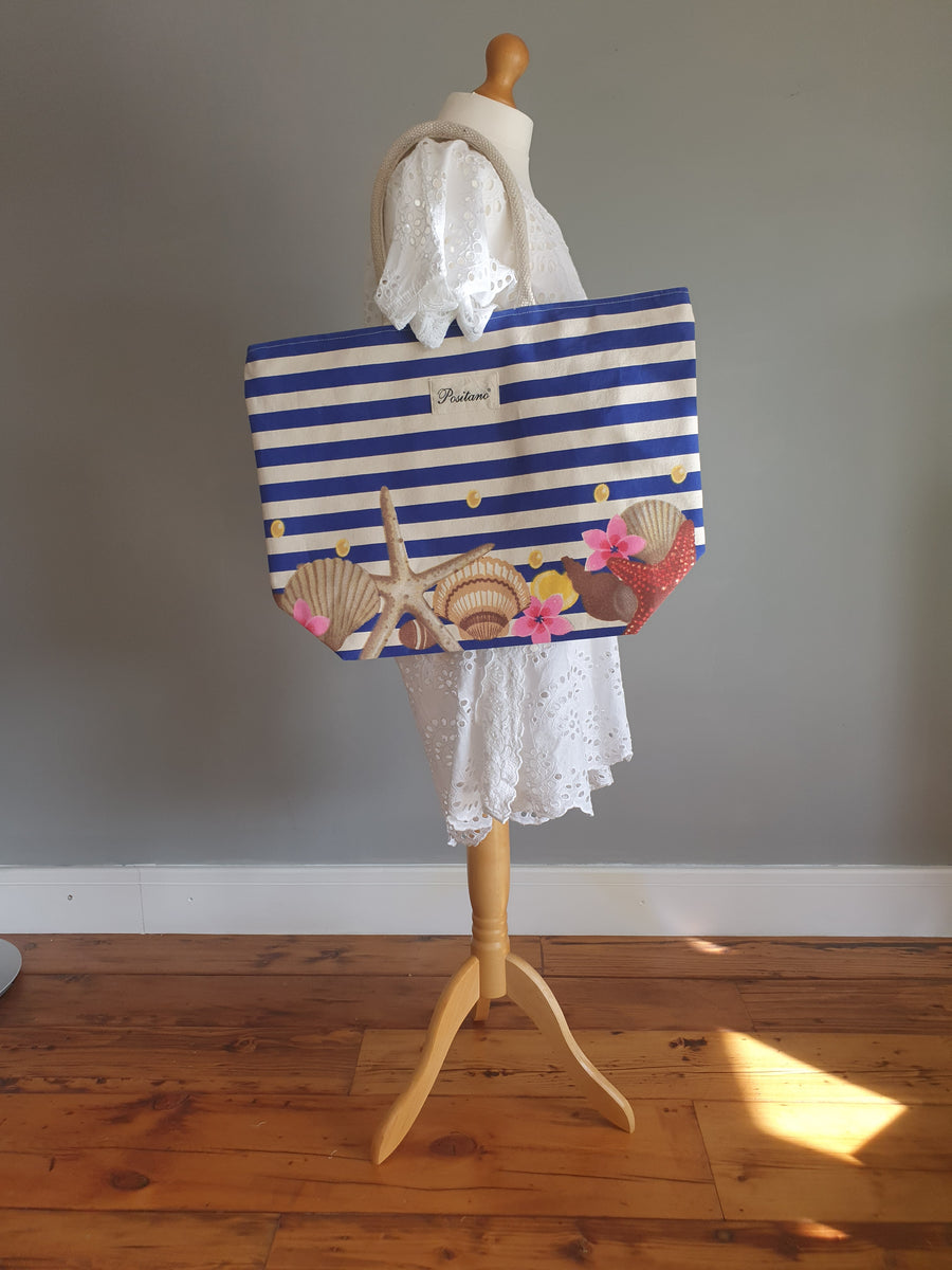 POSITANO Fantasy Blue Striped and Sea Beach Bag