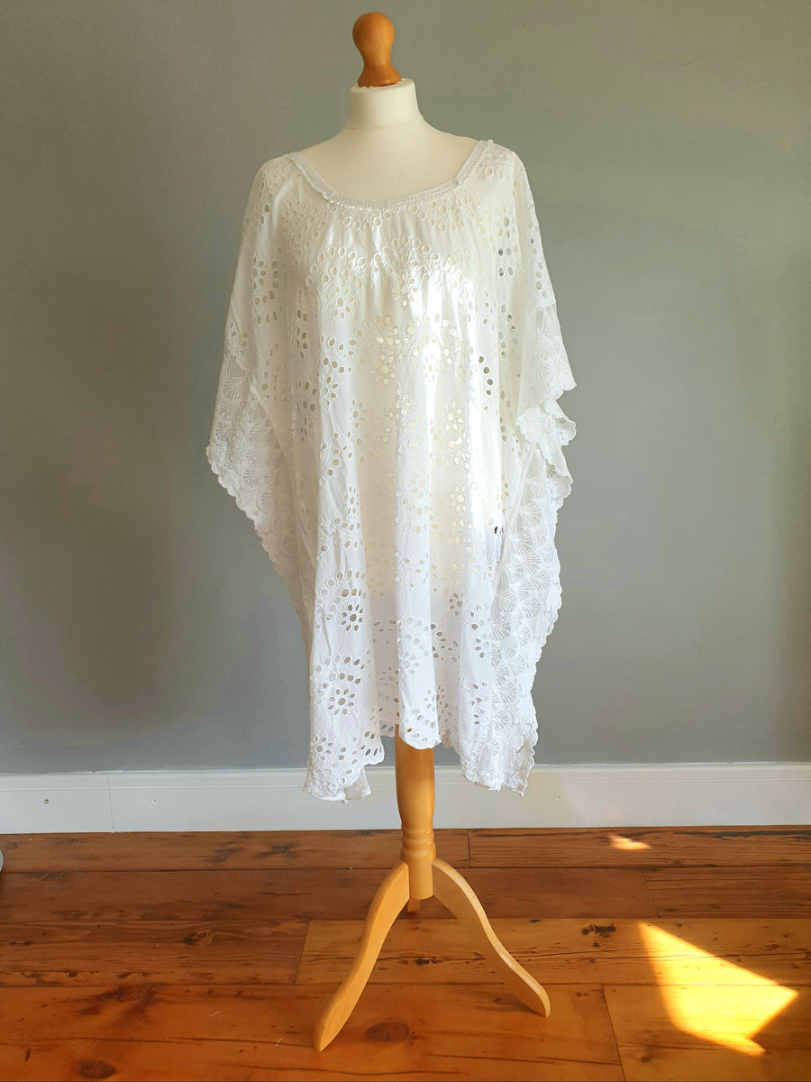 POSITANO  Embroidered White Dress/Poncho 100% cotton.