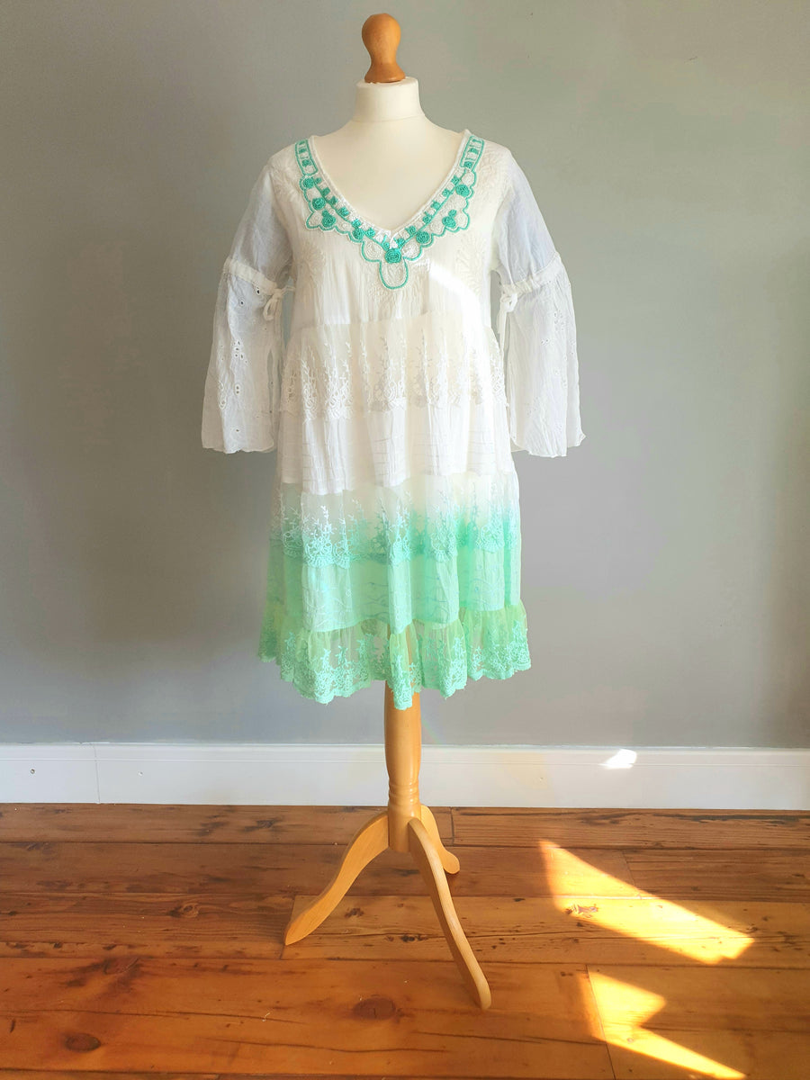 POSITANO  White / Green tiered Dress.  100% cotton.