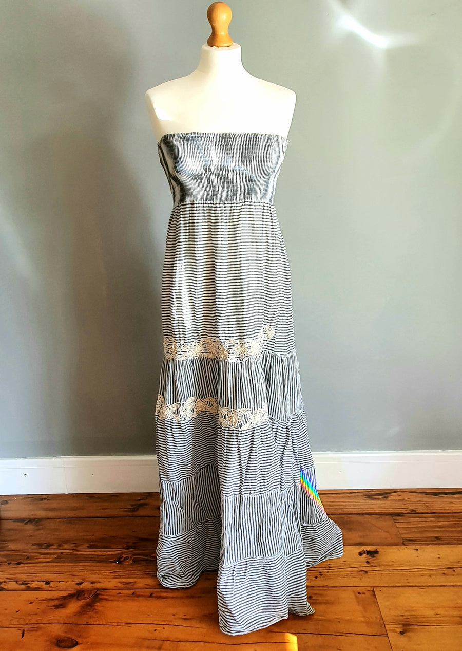 POSITANO  Strapless Striped Dress in either Blue or Grey.  100% cotton.