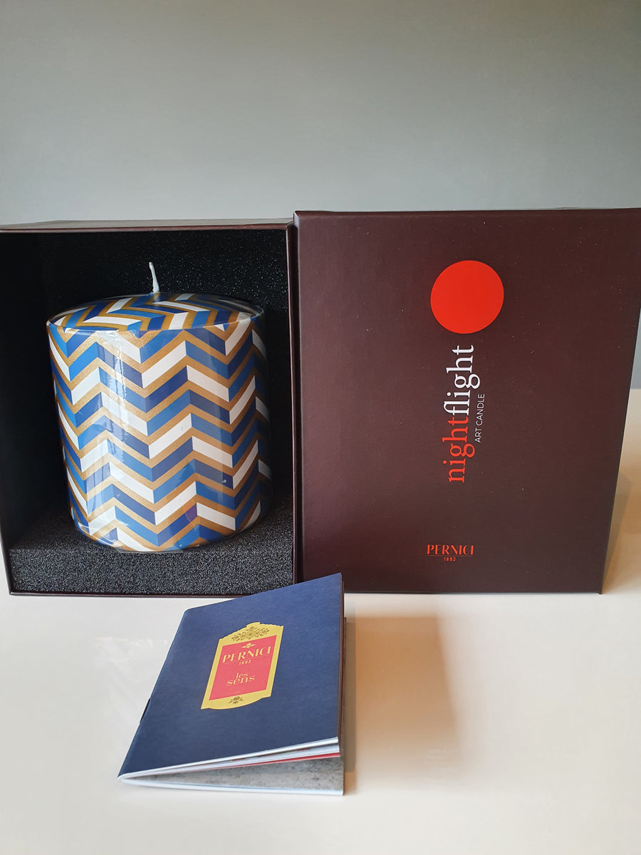 Pernici Candle - Righe Blue/Gold  -  Medium or Large