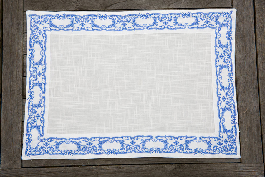 Royal Family Table Place Mats. Provenza Blu. 100% cotton linen. Set of 2. Size 33cm x 48cm.