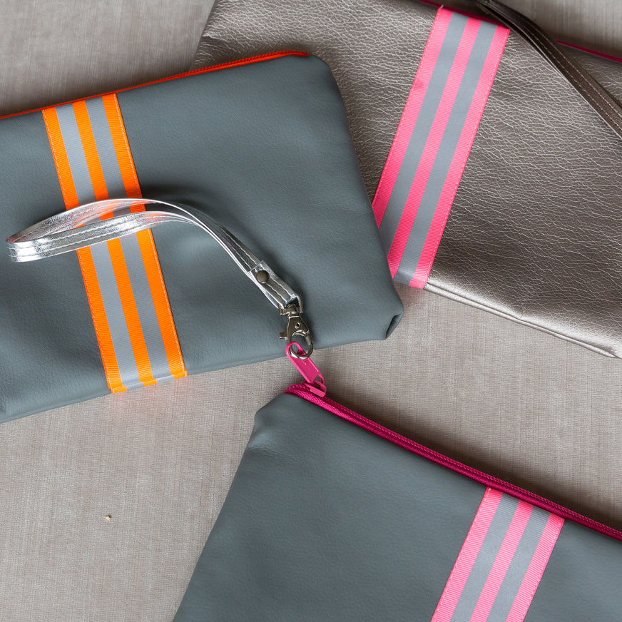 fil@home make-up / clutch bag with strap  - silver with pink contrast stripes