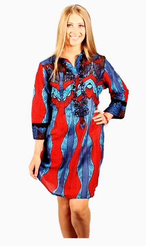 POSITANO  Red/Blue Printed Beach Dress 100% cotton.