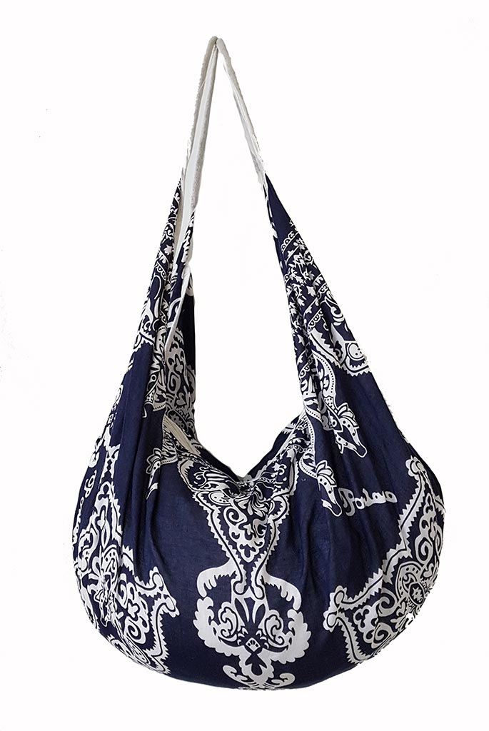 POSITANO Navy Printed banana shaped Beach Bag 100% cotton.