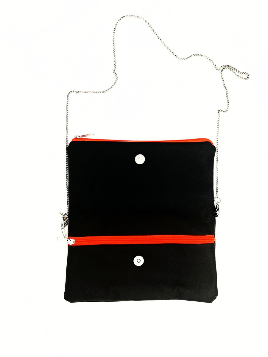 fil@home handbag with chain and flapover - grey with orange contrast stripes