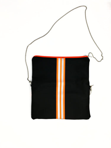 fil@home handbag with chain and flapover - grey with orange contrast stripe