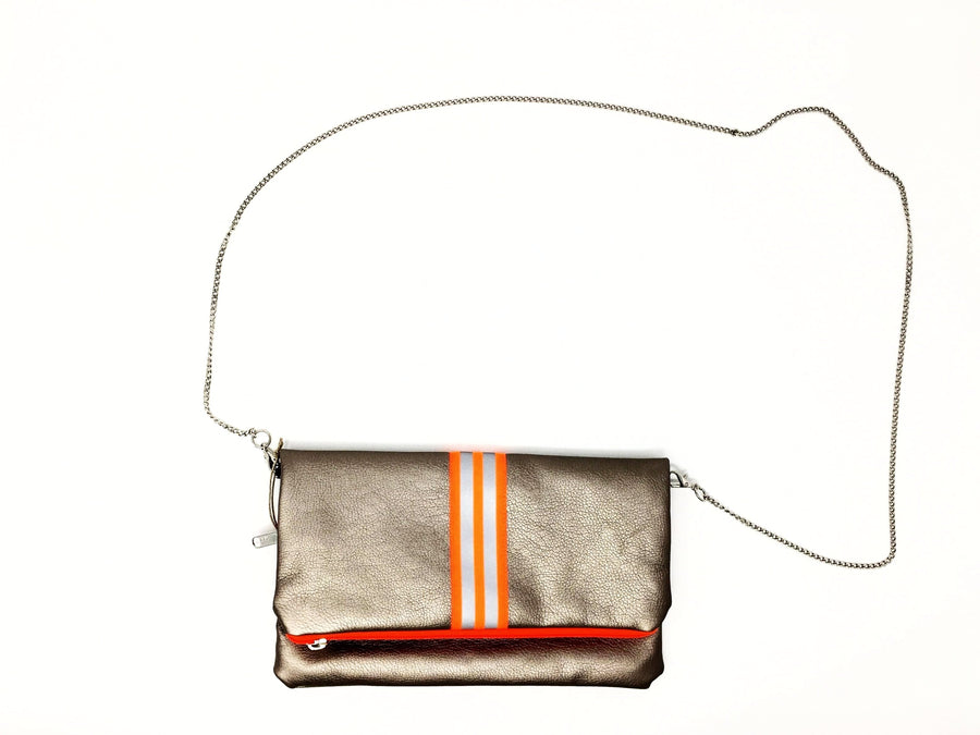 fil@home handbag with chain and flapover - bronze with orange contrast stripes