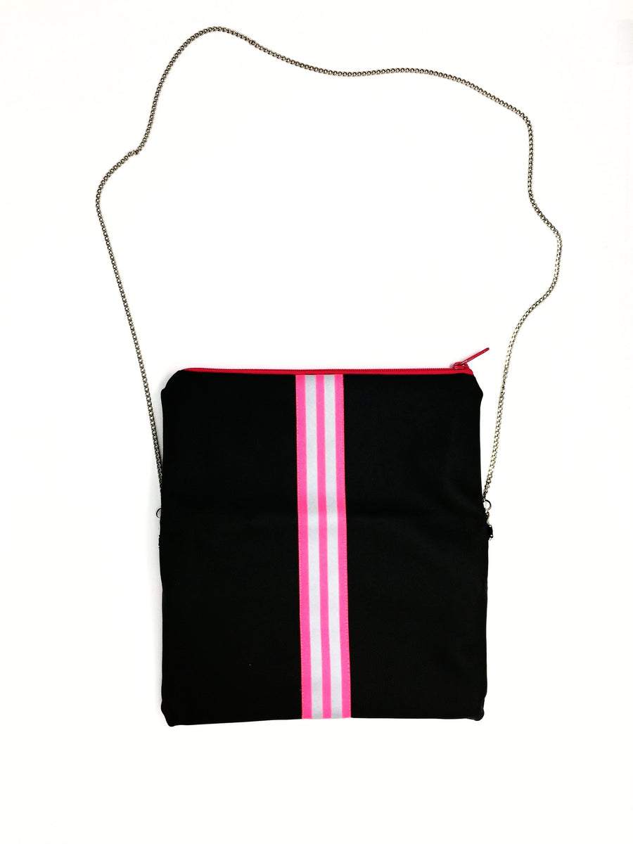 fil@home handbag with chain and flapover - grey with pink contrast stripes