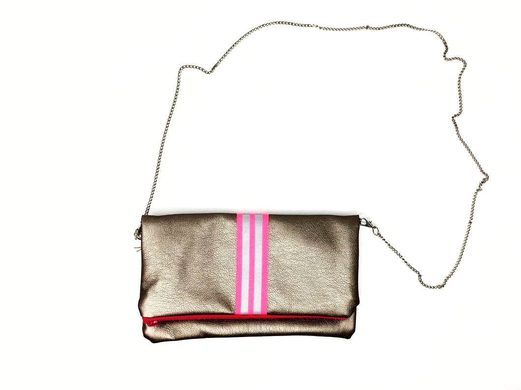 fil@home handbag with chain and flapover - bronze with pink contrast stripe
