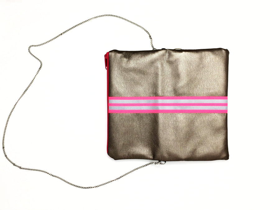 fil@home handbag with chain and flapover - bronze with pink contrast stripes