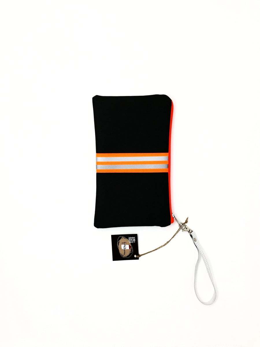 fil@home make-up / clutch bag with strap  - grey with orange contrast stripes