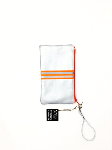 Italian handmade clutch bag silver and orange