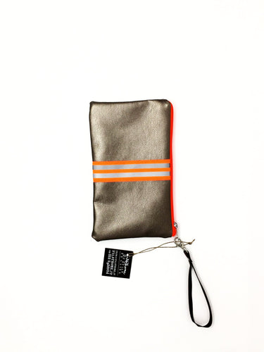 fil@home make-up / clutch bag with strap  - bronze with orange contrast stripe