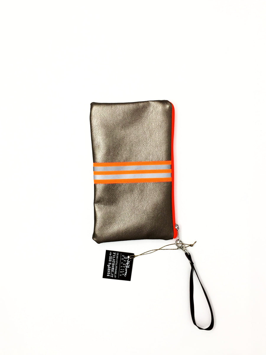 fil@home make-up / clutch bag with strap  - bronze with orange contrast stripes