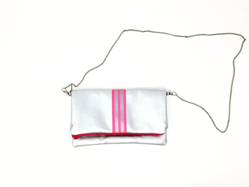 italian silver and pink handbag on chain fil@home