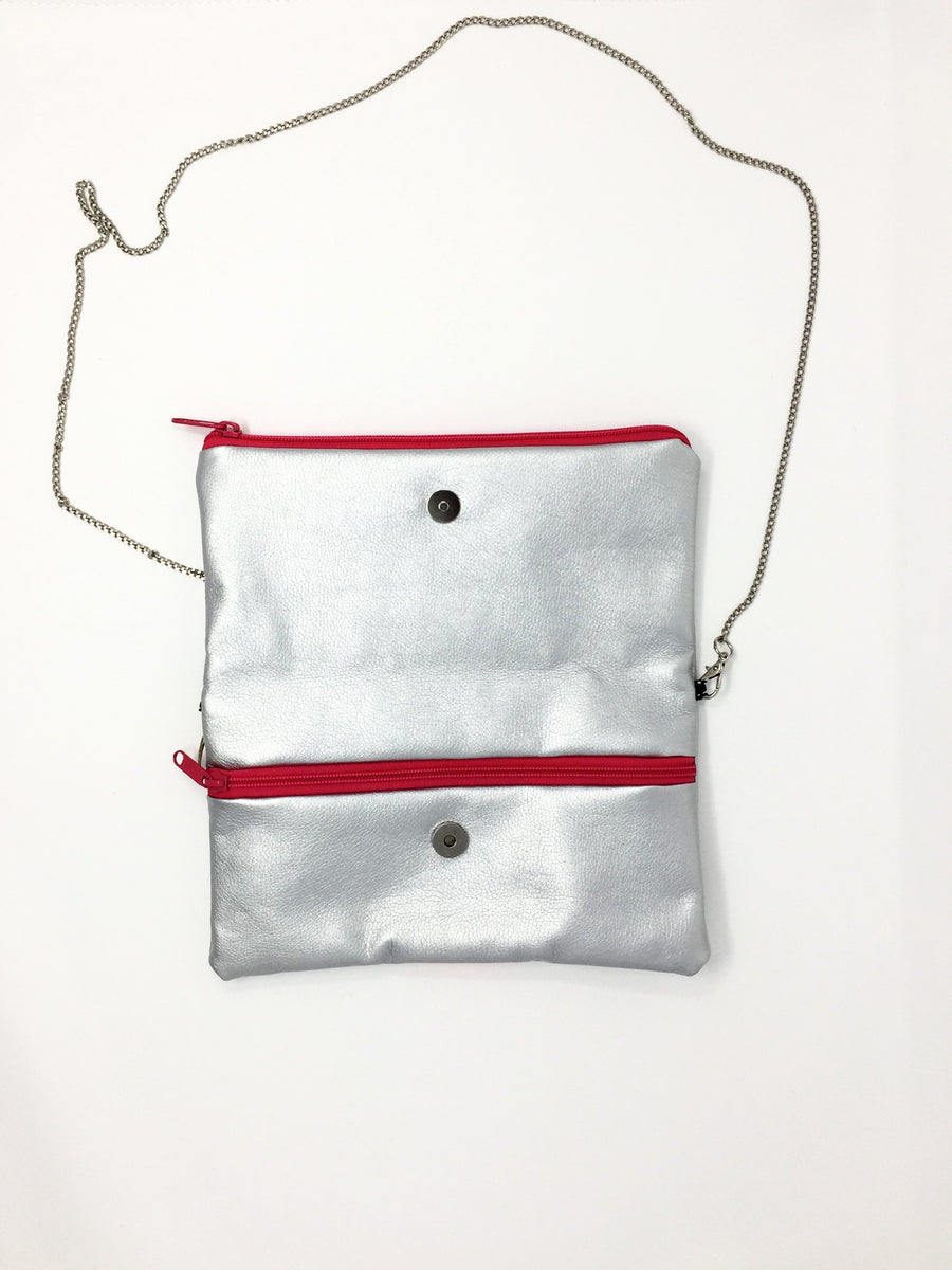 Italian silver and pink handbag with chain
