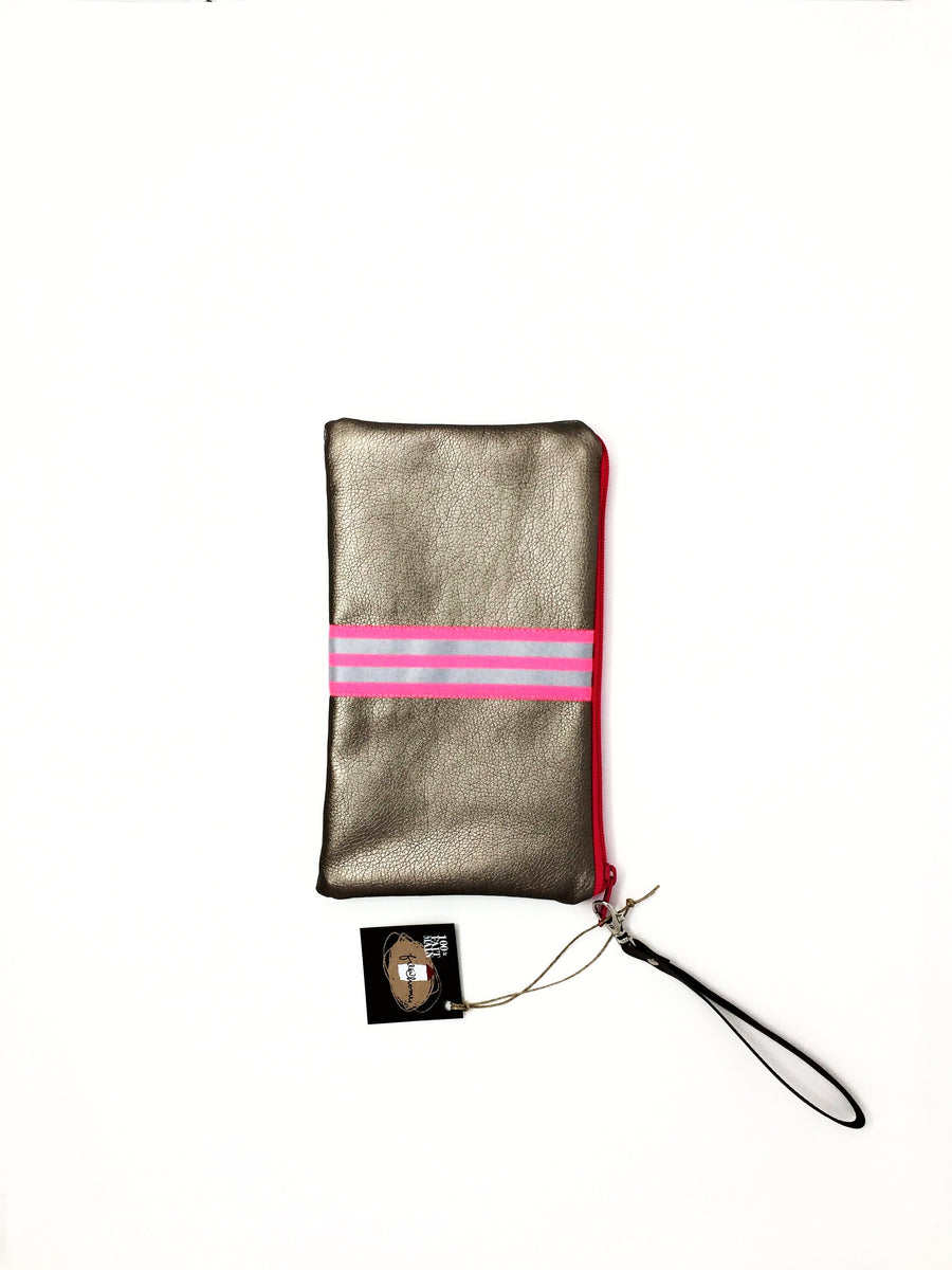 fil@home make-up / clutch bag with strap  - bronze with pink contrast stripes